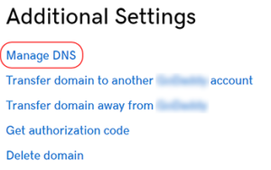 "Screenshot of the ""Additional Settings"" with ""Manage DNS"" circled."